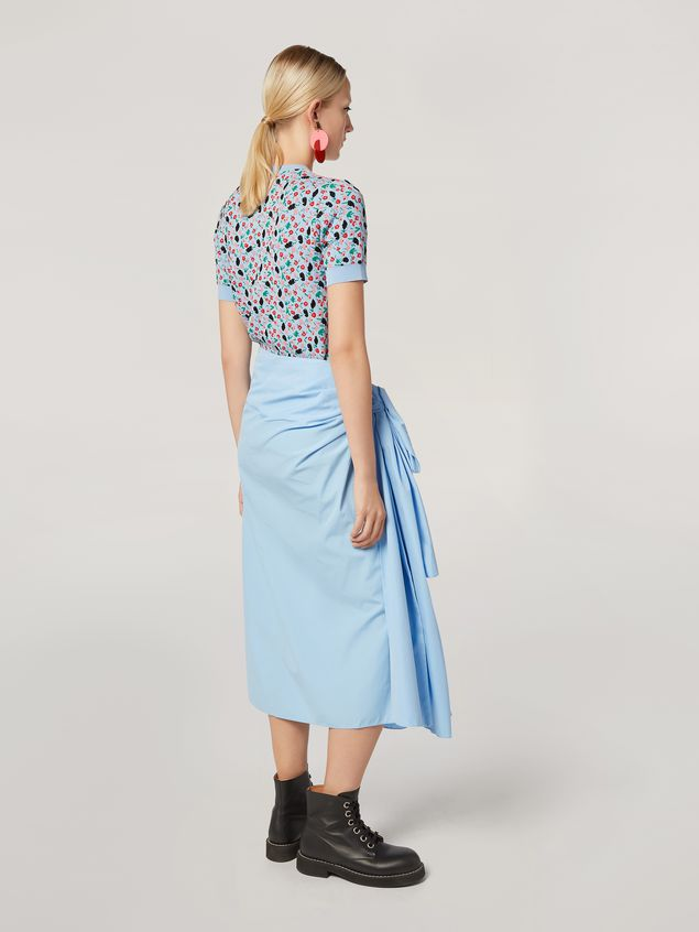 Marni Draped A-lined skirt in cotton poplin Woman - 3