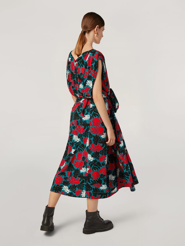 Marni Draped A-lined skirt in viscose sablé Eyed Leaves print Woman
