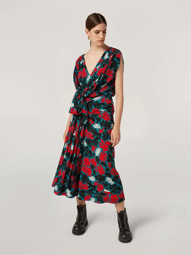 Marni Draped A-lined skirt in viscose sablé Eyed Leaves print Woman - 1