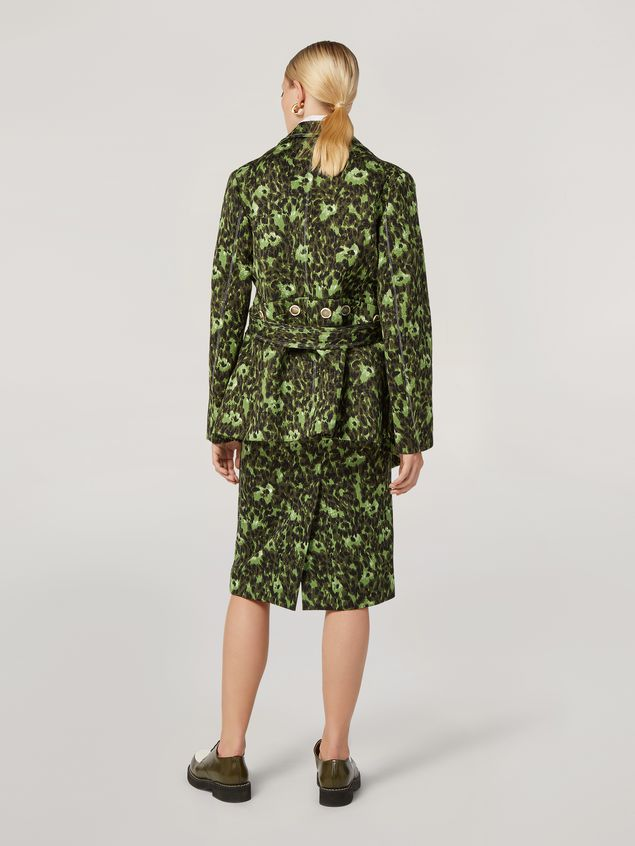 Marni Pencil skirt in cotton jacquard Wild print with slit Woman