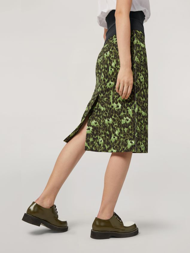 Marni Pencil skirt in cotton jacquard Wild print with slit Woman - 5