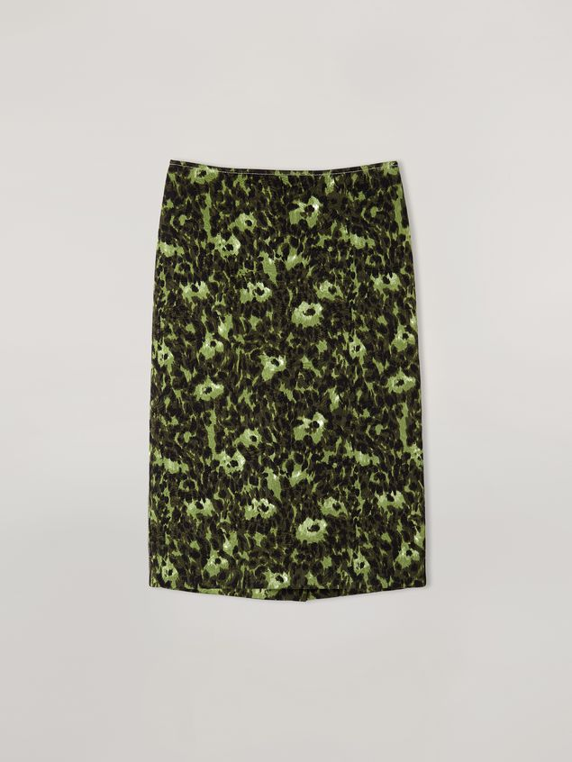 Marni Pencil skirt in cotton jacquard Wild print with slit Woman - 2