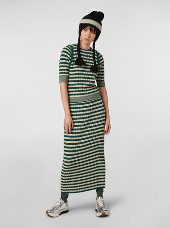 Marni WANDERING IN STRIPES wool striped skirt with embossed effect Woman f