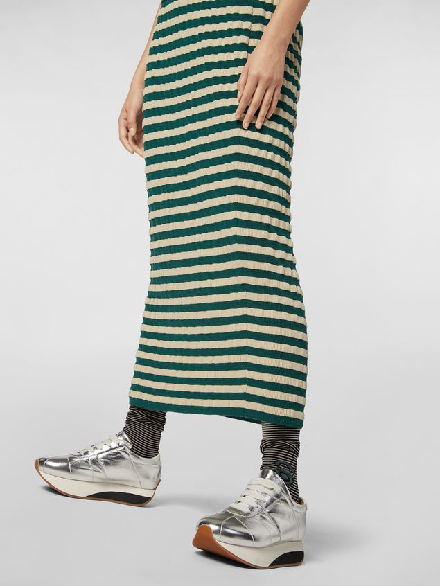 Marni WANDERING IN STRIPES wool striped skirt with embossed effect Woman - 5