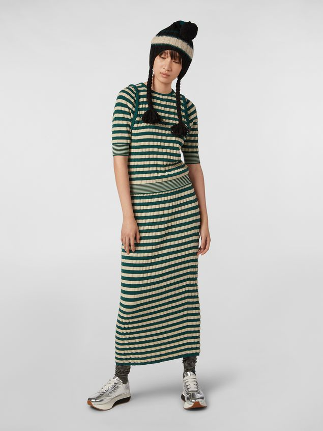 Marni WANDERING IN STRIPES wool striped skirt with embossed effect Woman - 1