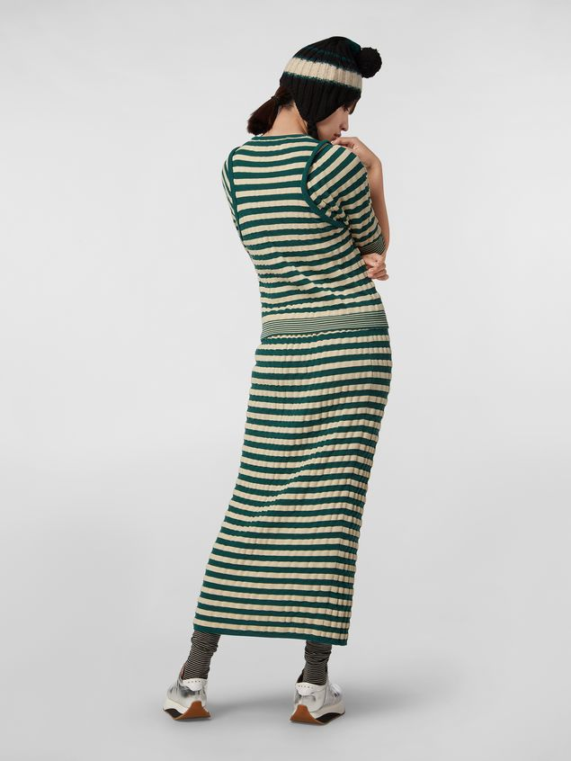 Marni WANDERING IN STRIPES wool striped skirt with embossed effect Woman - 3
