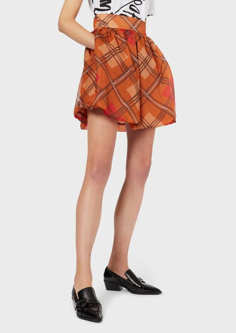 Full mini skirt in silk organza with tartan print