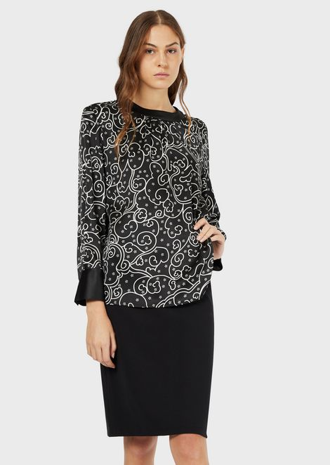 Floriental-print satin blouse