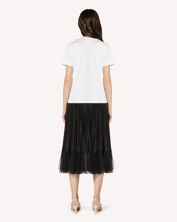 REDValentino Crepe de chine and point d'esprit tulle pleated skirt