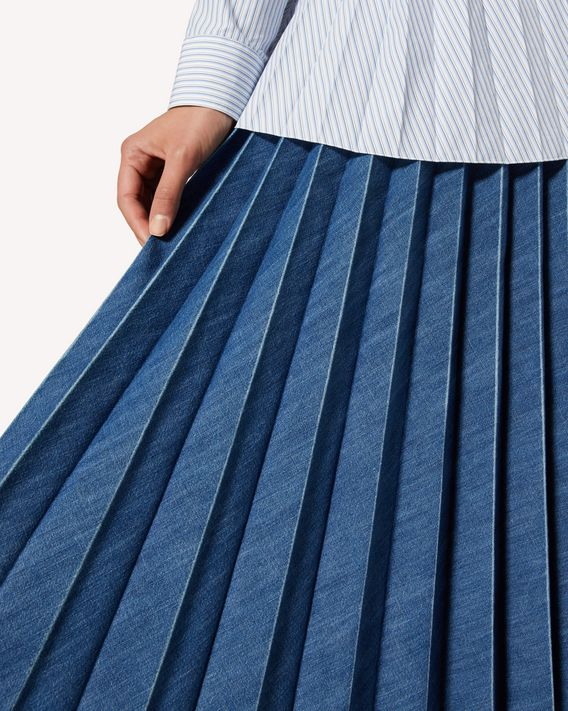 REDValentino Pleated denim skirt