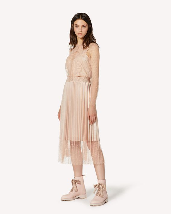 REDValentino Jersey mesh and point d'esprit tulle pleated skirt