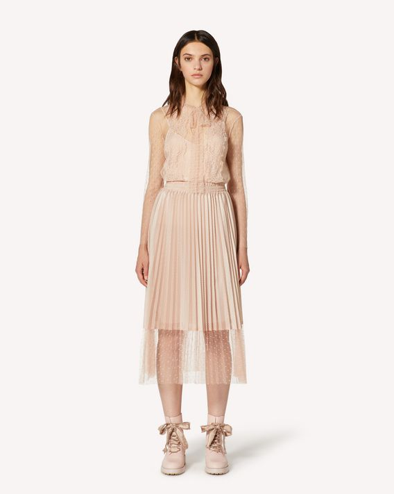 REDValentino Mesh jersey and point d'esprit tulle pleated skirt