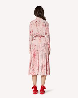 REDValentino EXCLUSIVE CAPSULE COLLECTION Pleated crepe de chine skirt with Fireworks print.