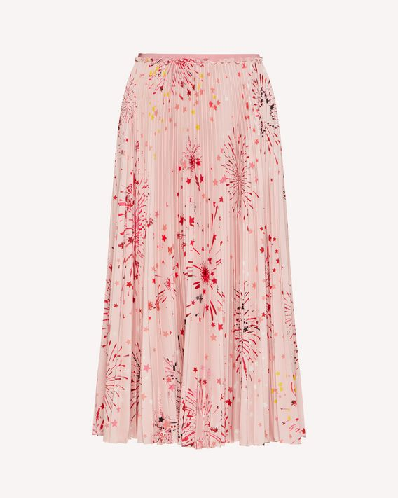 REDValentino EXCLUSIVE CAPSULE Fireworks printed crepe de chine skirt