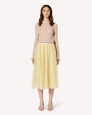REDValentino Glitter polka dot tulle pleated skirt