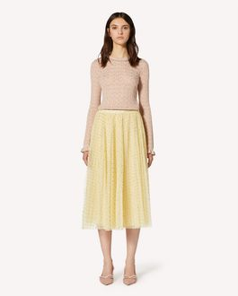 REDValentino Pleated glitter polka dot tulle skirt