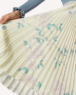 REDValentino Jupe plissée en crêpe de Chine imprimé Jasmin Étoilé