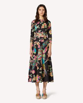 REDValentino Cotton skirt with Bird of Paradise in the Forest print