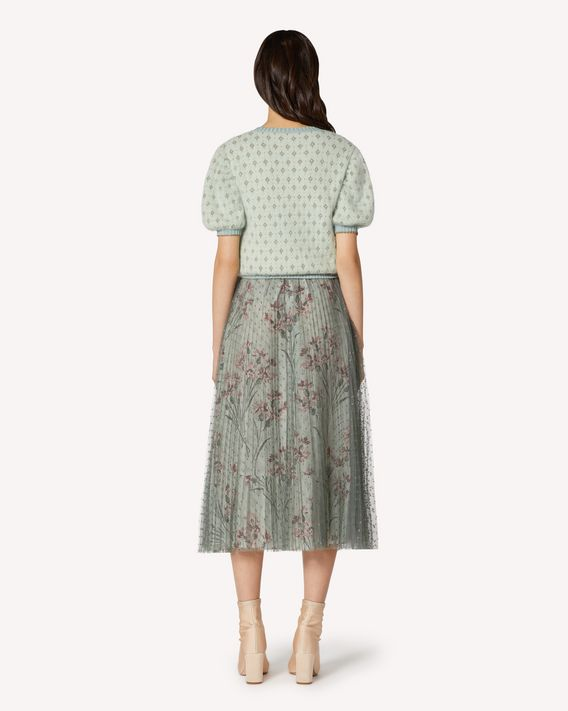 REDValentino Point d'esprit tulle pleated skirt with printed lining