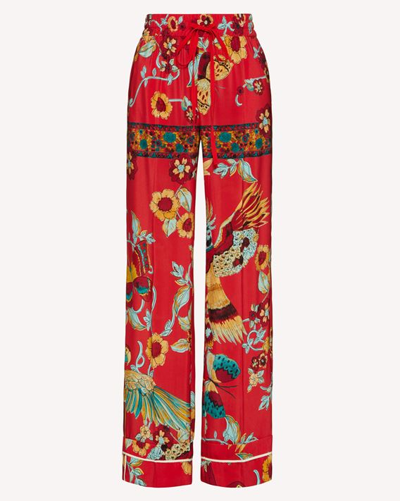 REDValentino  Bird of Paradise in the Forest  printed silk pajama style pants