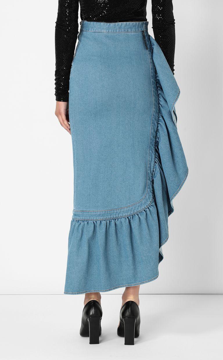 JUST CAVALLI Denim skirt with ruffle Denim skirt Woman a