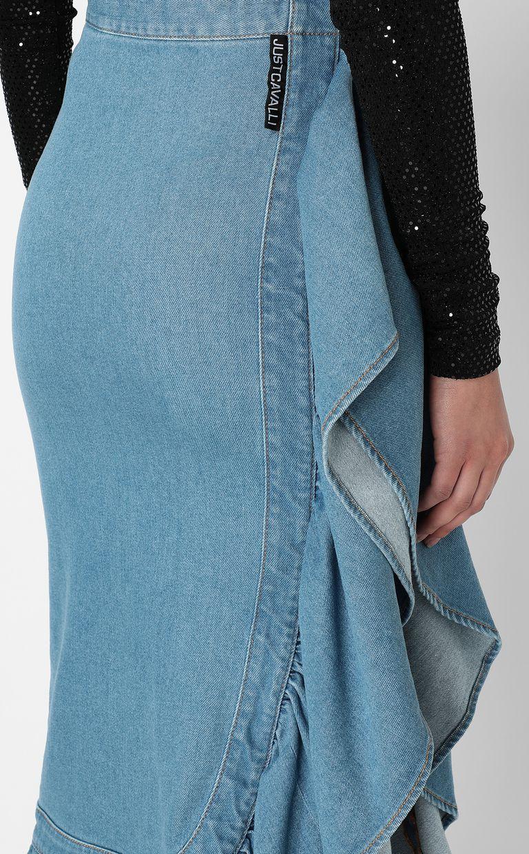 JUST CAVALLI Denim skirt with ruffle Denim skirt Woman e
