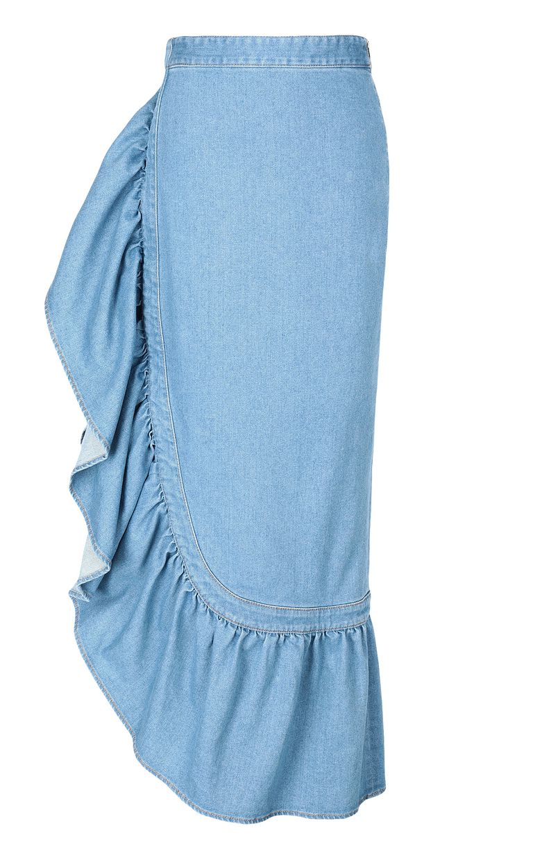 JUST CAVALLI Denim skirt with ruffle Denim skirt Woman f