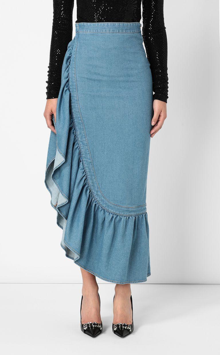 JUST CAVALLI Denim skirt with ruffle Denim skirt Woman r