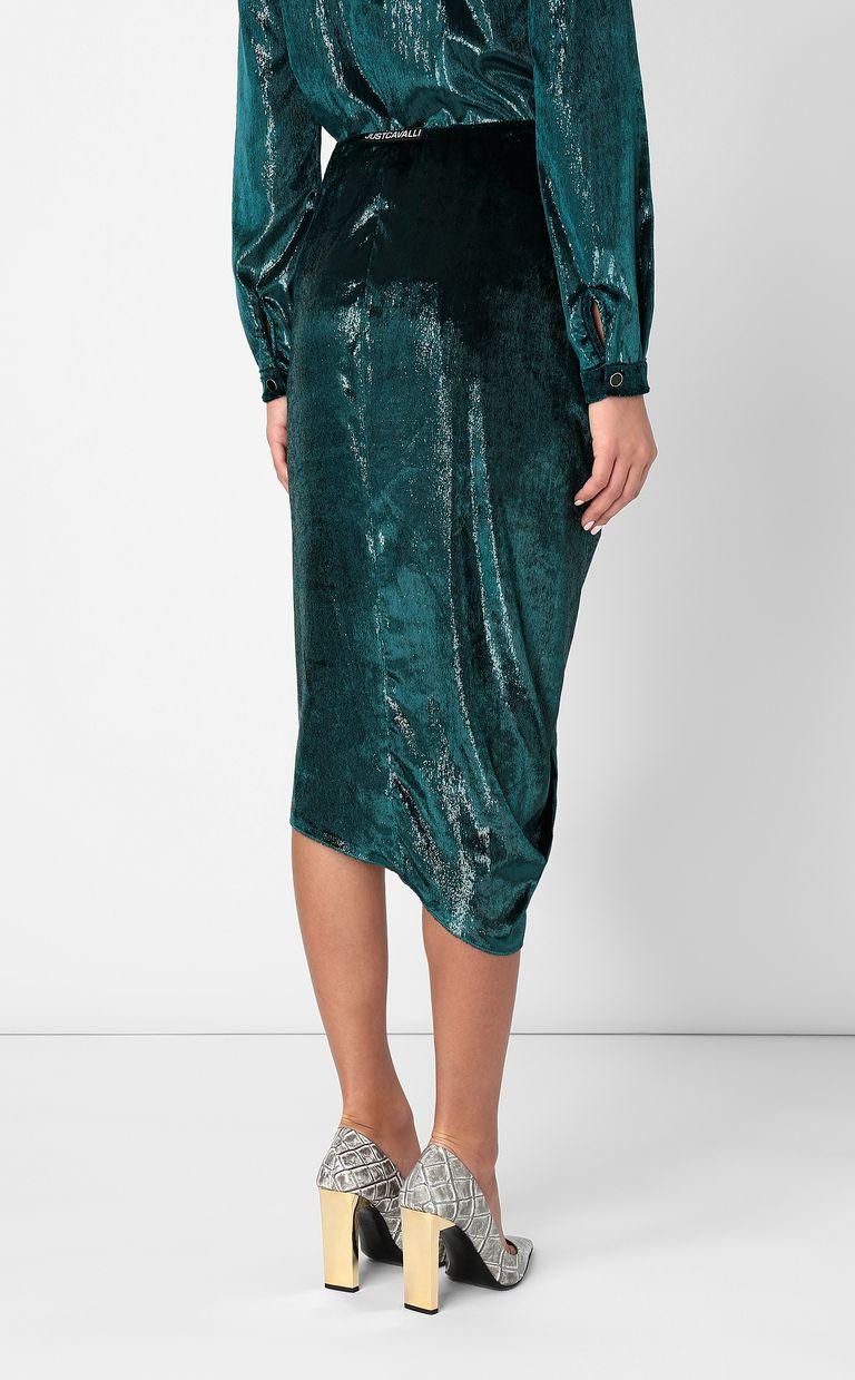 JUST CAVALLI Wet-effect velvet skirt Skirt Woman a