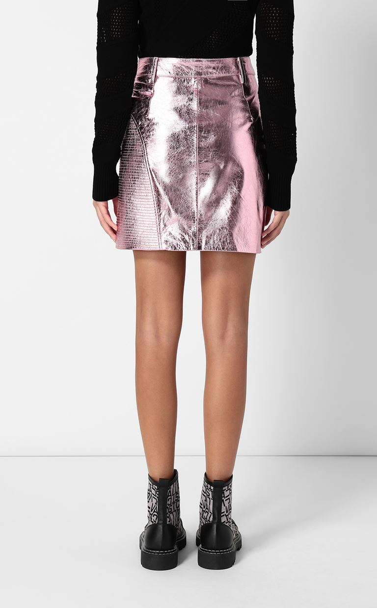 JUST CAVALLI Miniskirt in lamé leather Leather skirt Woman a