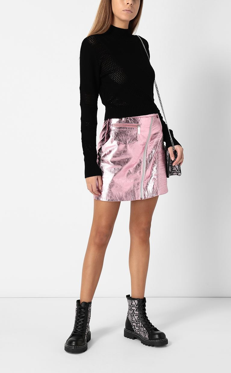 JUST CAVALLI Miniskirt in lamé leather Leather skirt Woman d