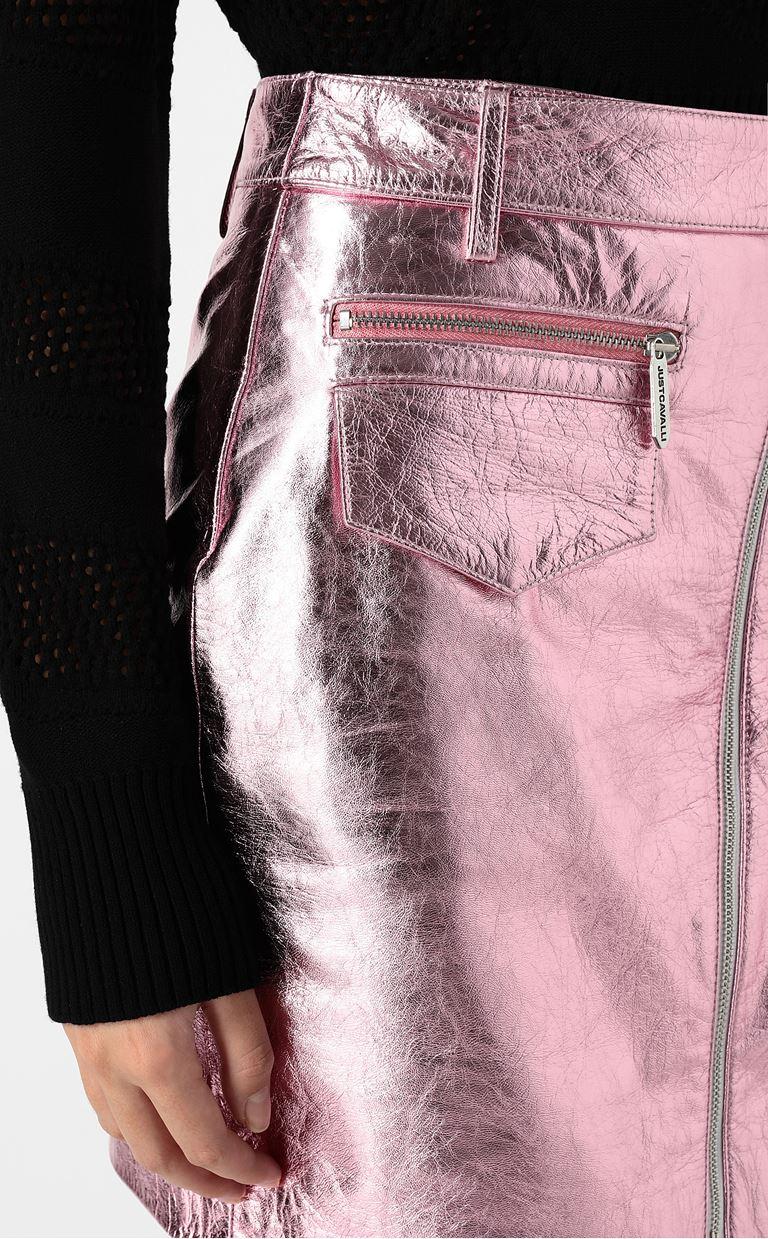 JUST CAVALLI Miniskirt in lamé leather Leather skirt Woman e