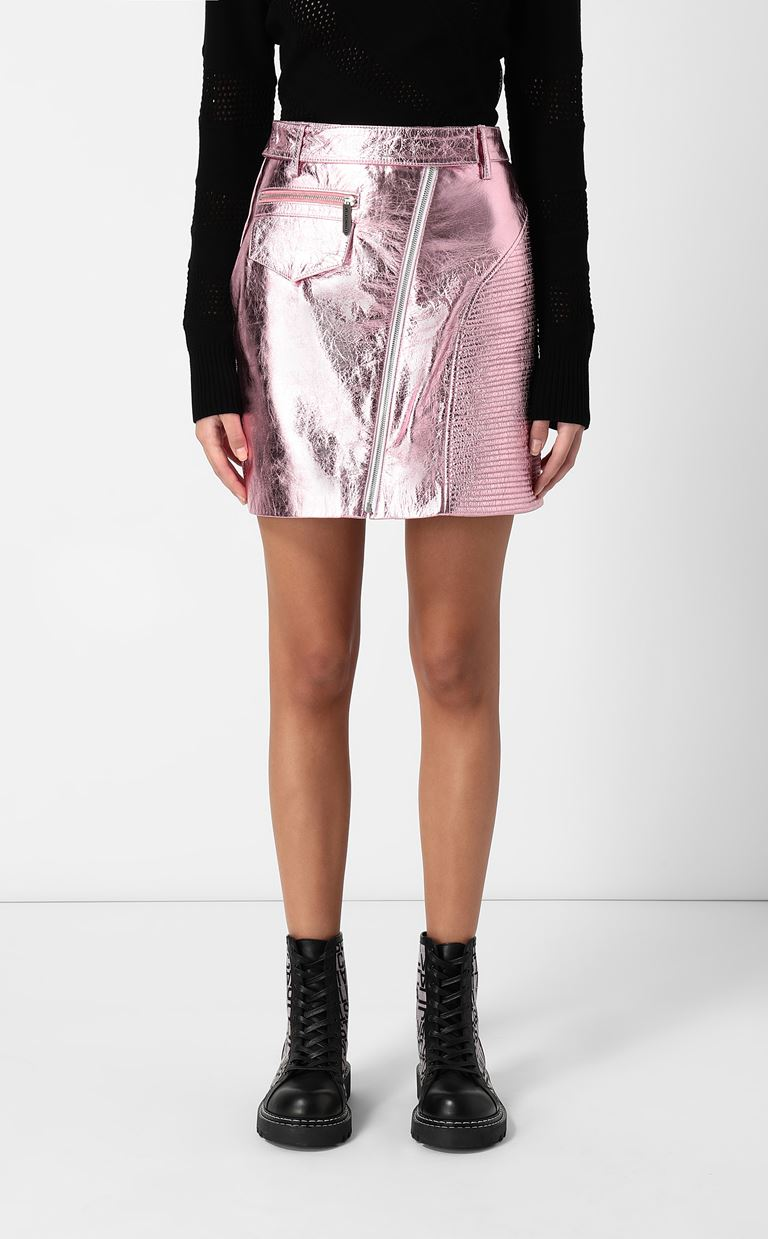 JUST CAVALLI Miniskirt in lamé leather Leather skirt Woman r