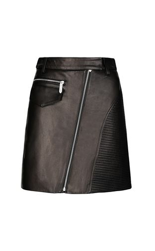 JUST CAVALLI Leather skirt Woman Miniskirt in lamé leather f