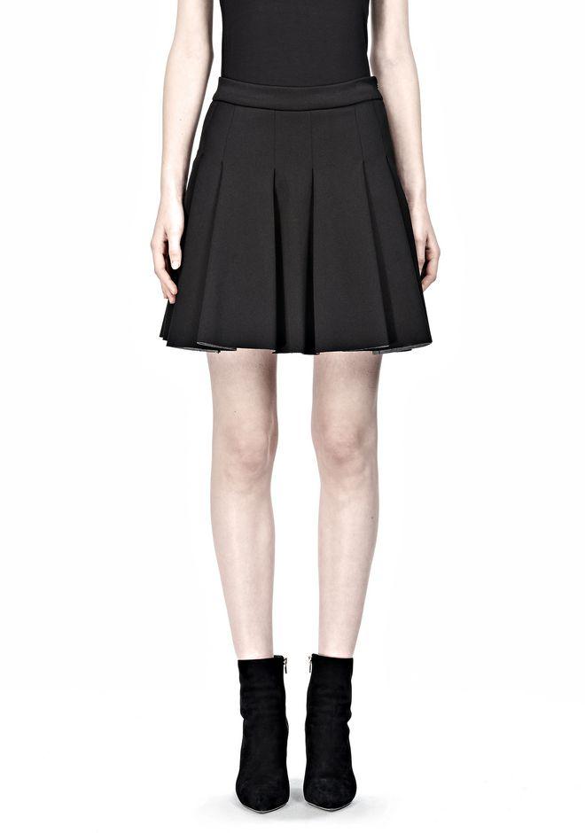 T by ALEXANDER WANG JERSEY BONDED NEOPRENE BOX PLEAT SKIRT Skirt/DEL Adult 12_n_e