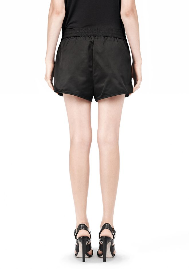 T by ALEXANDER WANG TECHNICAL MEMORY SATIN TRACK SHORTS SHORTS Adult 12_n_a