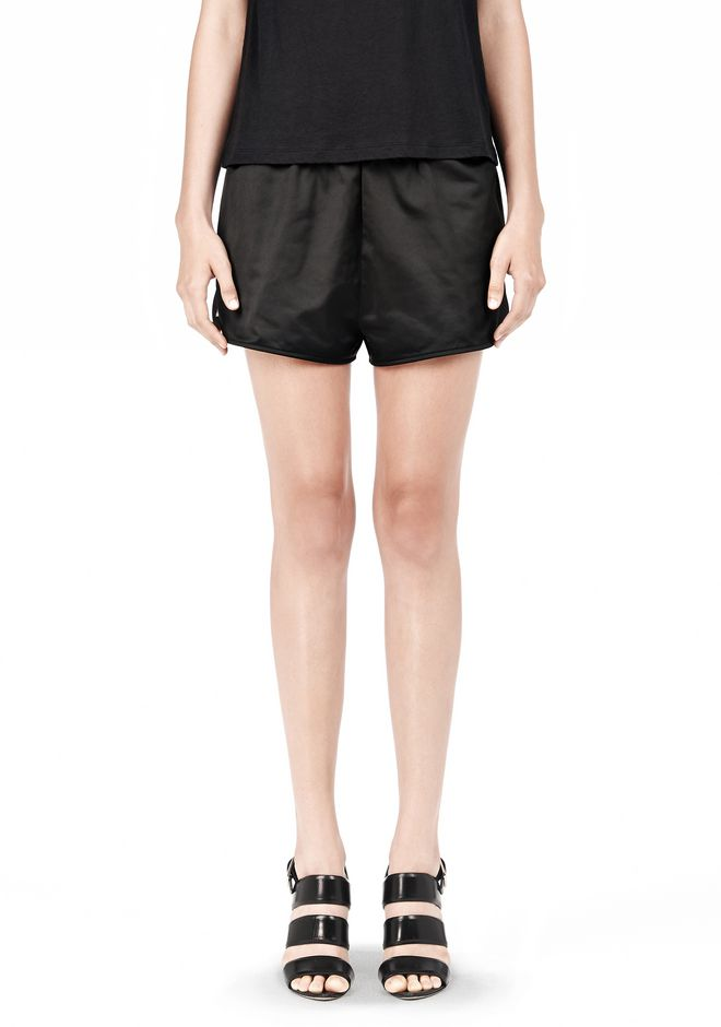 T by ALEXANDER WANG TECHNICAL MEMORY SATIN TRACK SHORTS SHORTS Adult 12_n_d