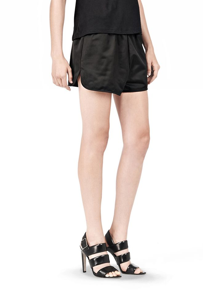 T by ALEXANDER WANG TECHNICAL MEMORY SATIN TRACK SHORTS SHORTS Adult 12_n_e