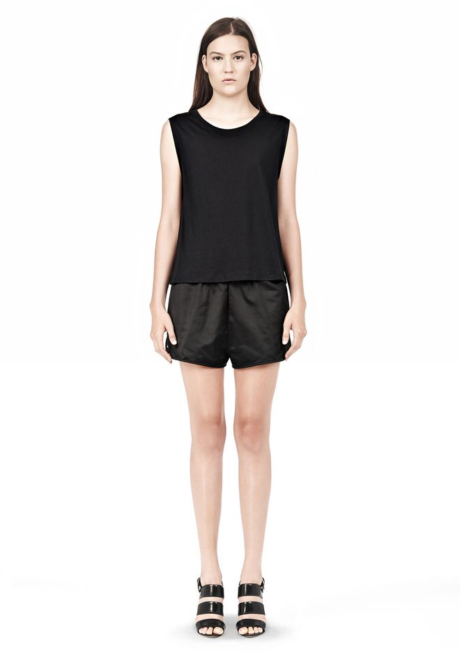 T by ALEXANDER WANG TECHNICAL MEMORY SATIN TRACK SHORTS SHORTS Adult 12_n_f