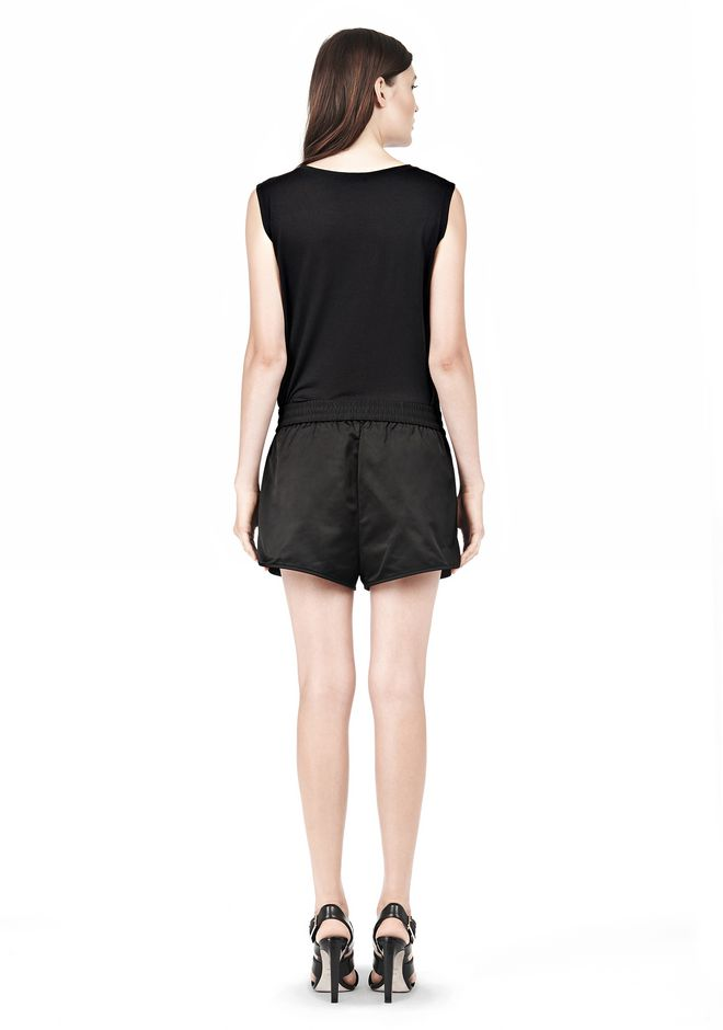 T by ALEXANDER WANG TECHNICAL MEMORY SATIN TRACK SHORTS SHORTS Adult 12_n_r