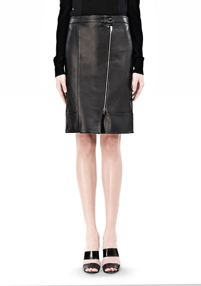 ALEXANDER WANG ASSYMETRIC LEATHER ZIP FRONT SKIRT Skirt/DEL Adult 12_n_d