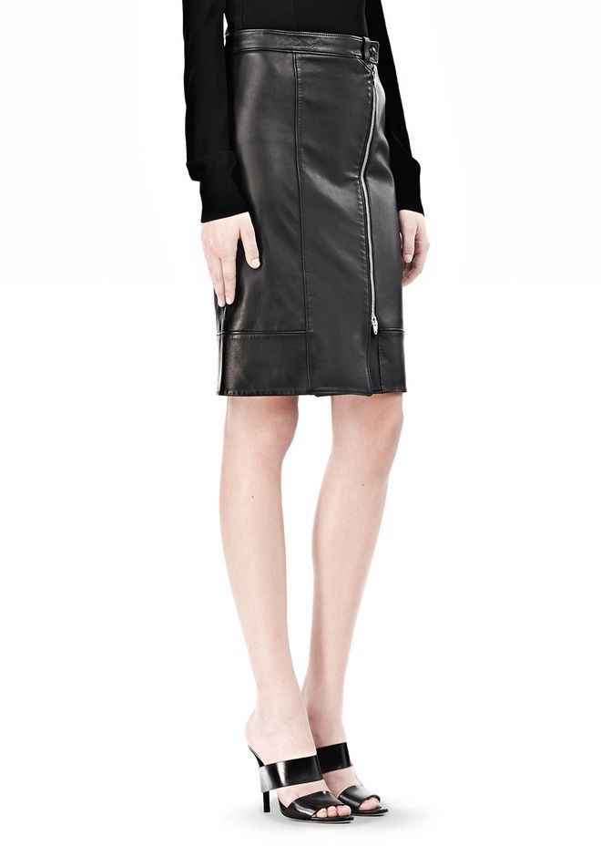 ALEXANDER WANG ASSYMETRIC LEATHER ZIP FRONT SKIRT Skirt/DEL Adult 12_n_e