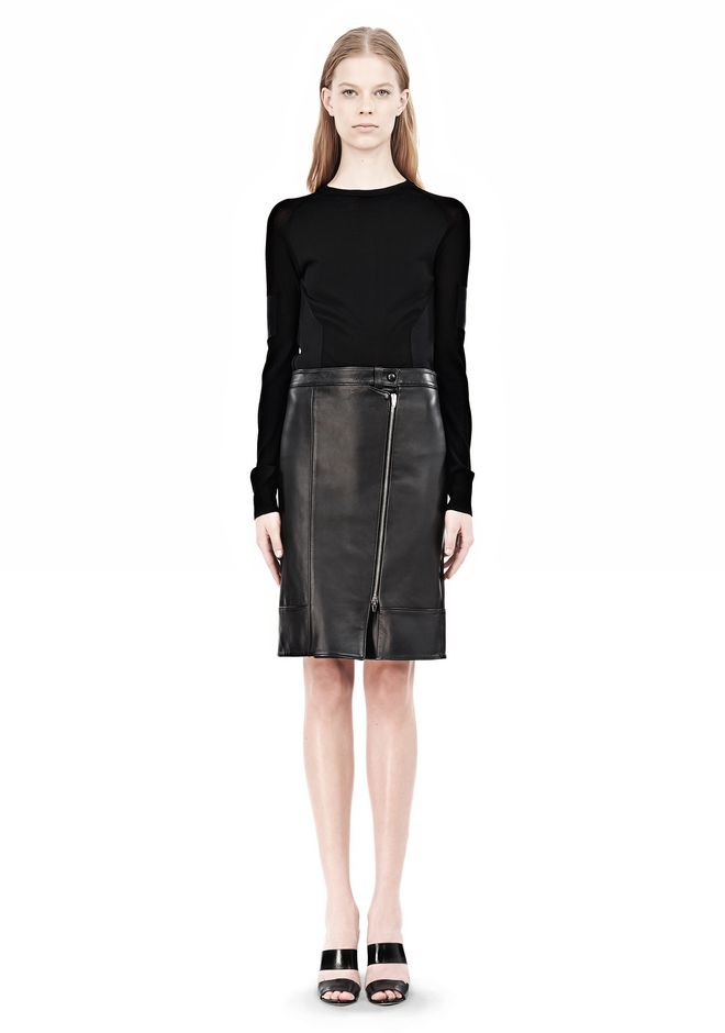 ALEXANDER WANG ASSYMETRIC LEATHER ZIP FRONT SKIRT Skirt/DEL Adult 12_n_f