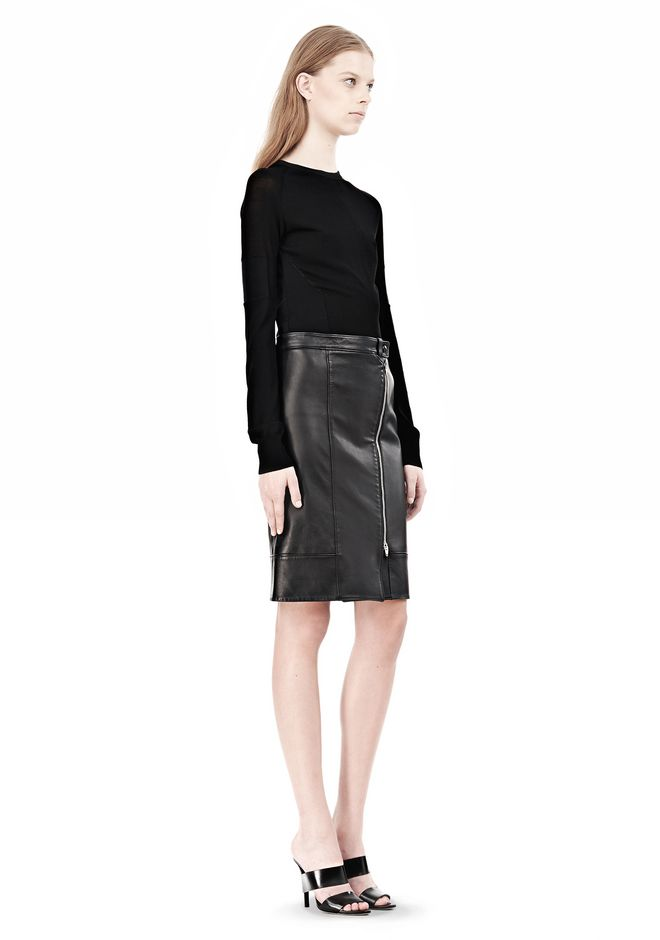 ALEXANDER WANG ASSYMETRIC LEATHER ZIP FRONT SKIRT Skirt/DEL Adult 12_n_r
