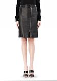 ALEXANDER WANG ASSYMETRIC LEATHER ZIP FRONT SKIRT Skirt/DEL Adult 8_n_d