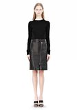 ALEXANDER WANG ASSYMETRIC LEATHER ZIP FRONT SKIRT Skirt/DEL Adult 8_n_f