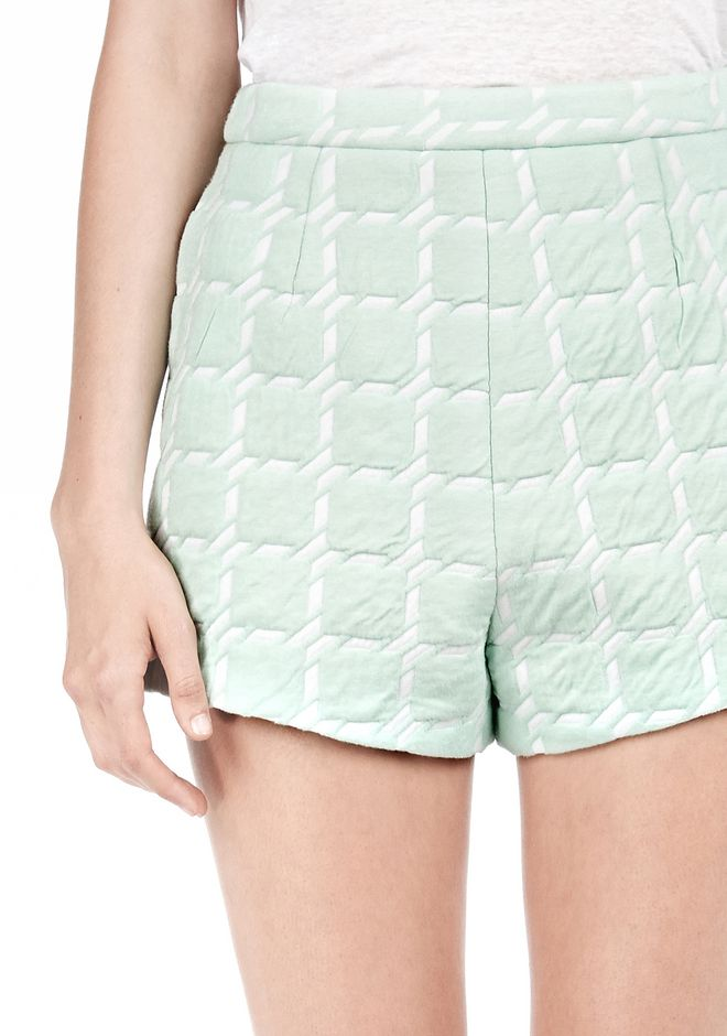 T by ALEXANDER WANG GRID JACQUARD BONDED NEOPRENE CROPPED SHORTS SHORTS Adult 12_n_a