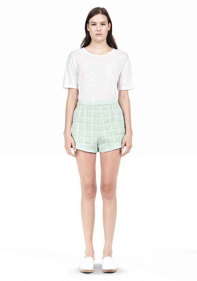 T by ALEXANDER WANG GRID JACQUARD BONDED NEOPRENE CROPPED SHORTS SHORTS Adult 12_n_f