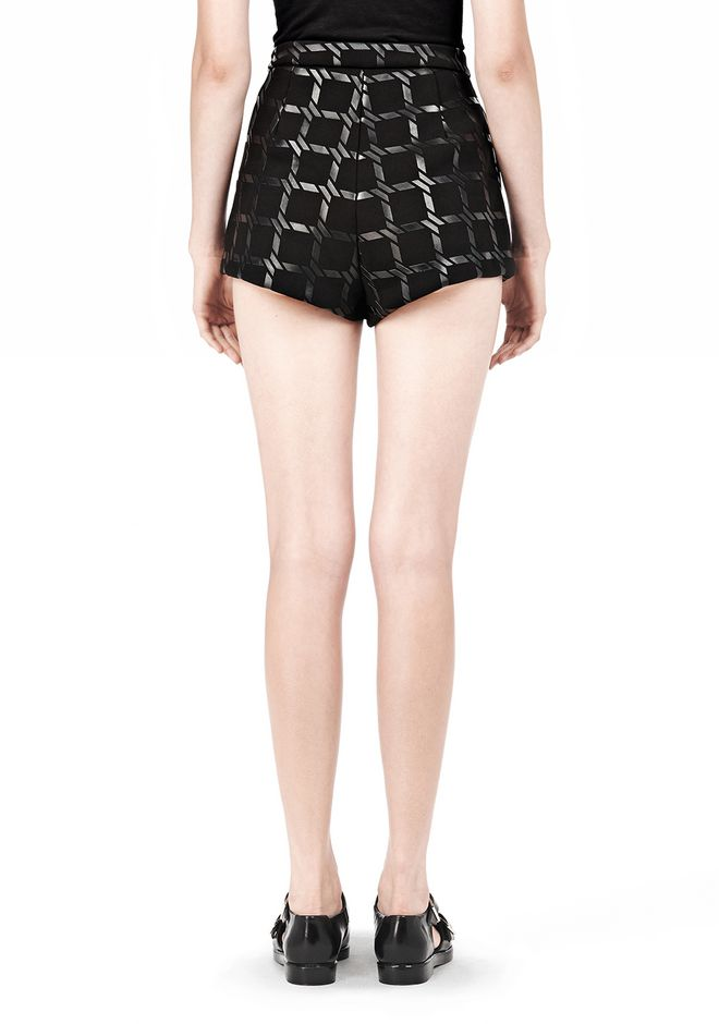 T by ALEXANDER WANG GRID PRINT NEOPRENE CROPPED SHORTS SHORTS Adult 12_n_a