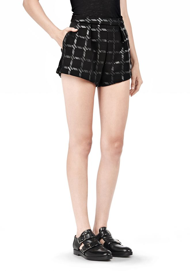 T by ALEXANDER WANG GRID PRINT NEOPRENE CROPPED SHORTS SHORTS Adult 12_n_e